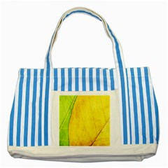 Green Yellow Leaf Texture Leaves Striped Blue Tote Bag by Alisyart