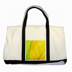 Green Yellow Leaf Texture Leaves Two Tone Tote Bag