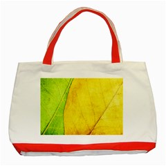 Green Yellow Leaf Texture Leaves Classic Tote Bag (red)