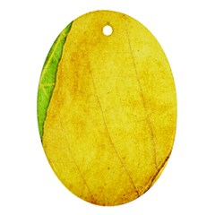 Green Yellow Leaf Texture Leaves Oval Ornament (two Sides) by Alisyart