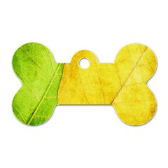Green Yellow Leaf Texture Leaves Dog Tag Bone (two Sides)
