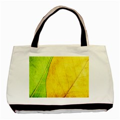 Green Yellow Leaf Texture Leaves Basic Tote Bag (two Sides) by Alisyart