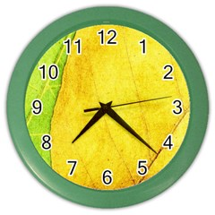 Green Yellow Leaf Texture Leaves Color Wall Clock