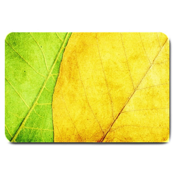 Green Yellow Leaf Texture Leaves Large Doormat