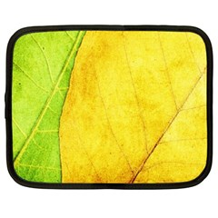 Green Yellow Leaf Texture Leaves Netbook Case (large)