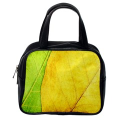 Green Yellow Leaf Texture Leaves Classic Handbag (one Side)
