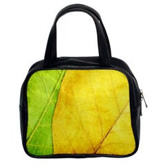 Green Yellow Leaf Texture Leaves Classic Handbag (two Sides)