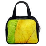 Green Yellow Leaf Texture Leaves Classic Handbag (Two Sides) Front