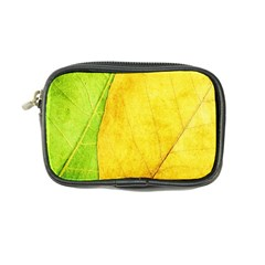 Green Yellow Leaf Texture Leaves Coin Purse