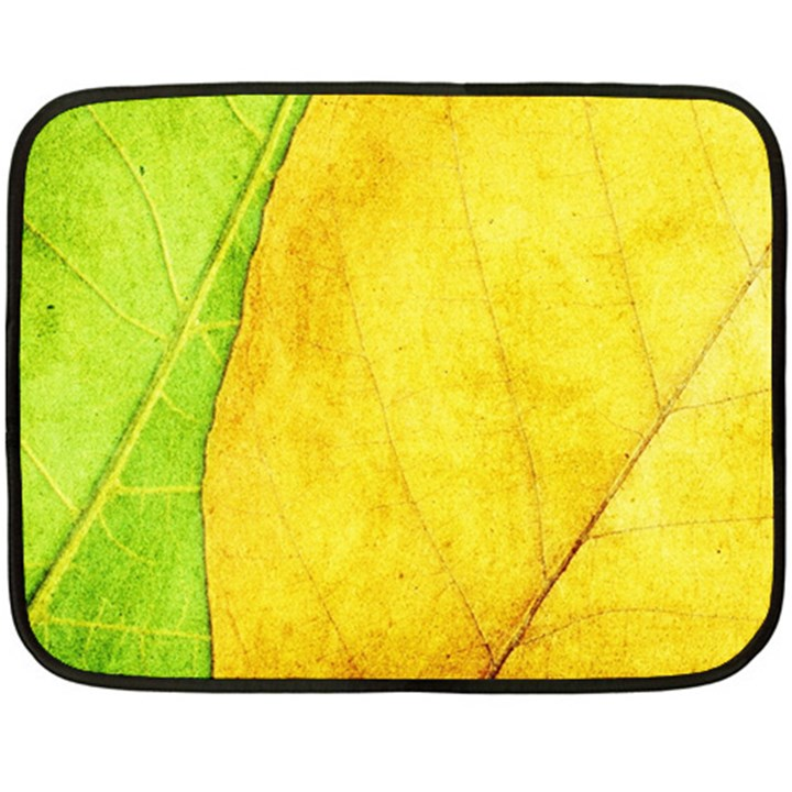Green Yellow Leaf Texture Leaves Double Sided Fleece Blanket (Mini)