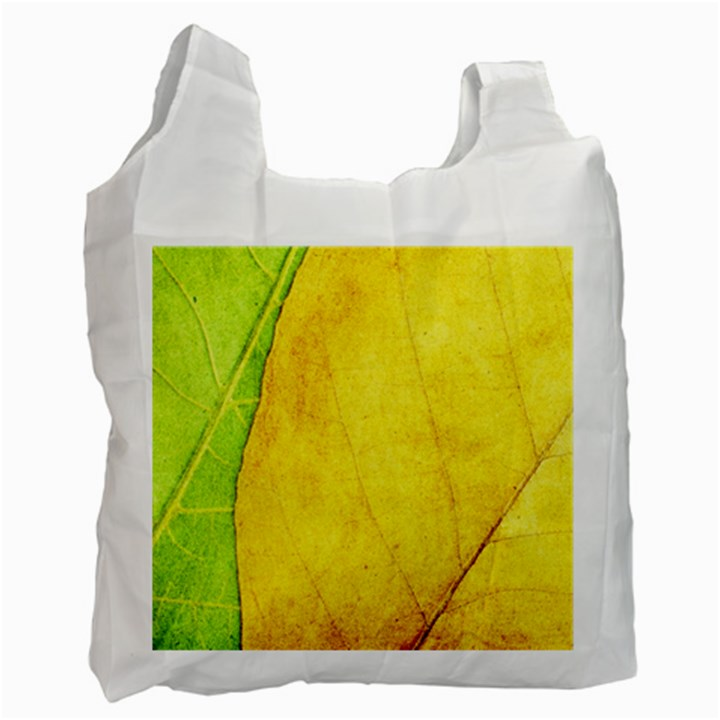 Green Yellow Leaf Texture Leaves Recycle Bag (One Side)