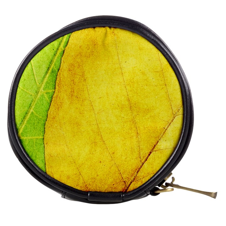Green Yellow Leaf Texture Leaves Mini Makeup Bag