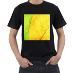 Green Yellow Leaf Texture Leaves Men s T-Shirt (Black) Front