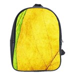 Green Yellow Leaf Texture Leaves School Bag (Large) Front