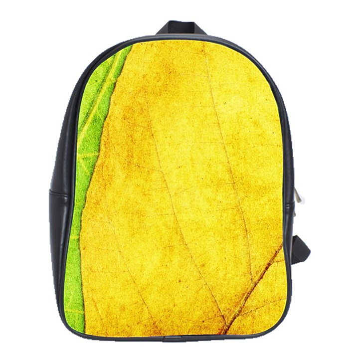 Green Yellow Leaf Texture Leaves School Bag (Large)