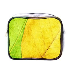 Green Yellow Leaf Texture Leaves Mini Toiletries Bag (one Side)