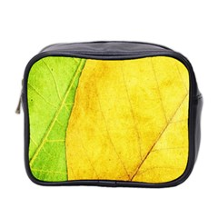 Green Yellow Leaf Texture Leaves Mini Toiletries Bag (two Sides) by Alisyart