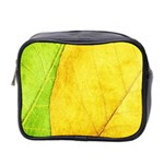 Green Yellow Leaf Texture Leaves Mini Toiletries Bag (Two Sides) Front