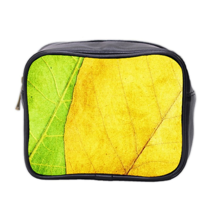 Green Yellow Leaf Texture Leaves Mini Toiletries Bag (Two Sides)