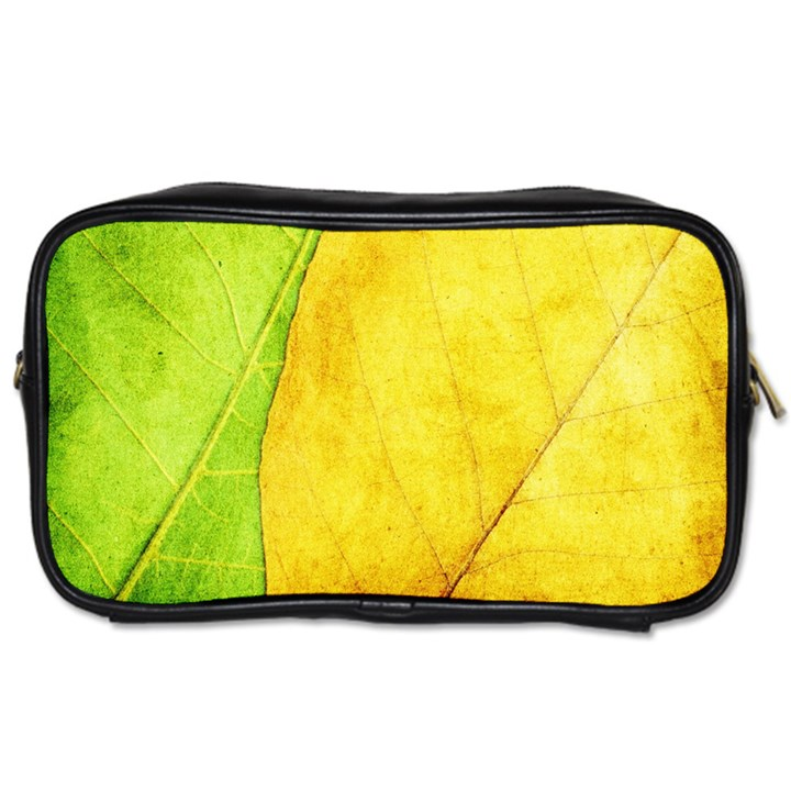 Green Yellow Leaf Texture Leaves Toiletries Bag (Two Sides)