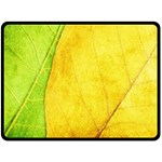 Green Yellow Leaf Texture Leaves Fleece Blanket (Large)  80 x60 Blanket Front