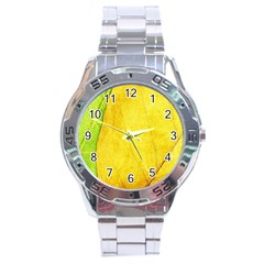 Green Yellow Leaf Texture Leaves Stainless Steel Analogue Watch