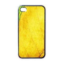 Green Yellow Leaf Texture Leaves Apple Iphone 4 Case (black)