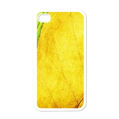 Green Yellow Leaf Texture Leaves Apple Iphone 4 Case (white)