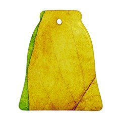 Green Yellow Leaf Texture Leaves Ornament (bell) by Alisyart