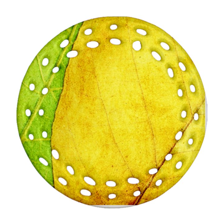 Green Yellow Leaf Texture Leaves Round Filigree Ornament (Two Sides)