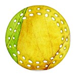 Green Yellow Leaf Texture Leaves Round Filigree Ornament (Two Sides) Back