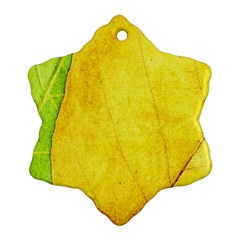Green Yellow Leaf Texture Leaves Snowflake Ornament (two Sides)