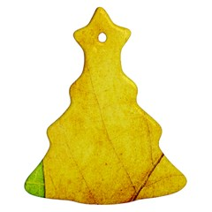 Green Yellow Leaf Texture Leaves Christmas Tree Ornament (two Sides)