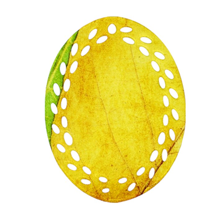 Green Yellow Leaf Texture Leaves Oval Filigree Ornament (Two Sides)