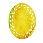 Green Yellow Leaf Texture Leaves Oval Filigree Ornament (Two Sides) Back