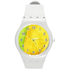 Green Yellow Leaf Texture Leaves Round Plastic Sport Watch (m)