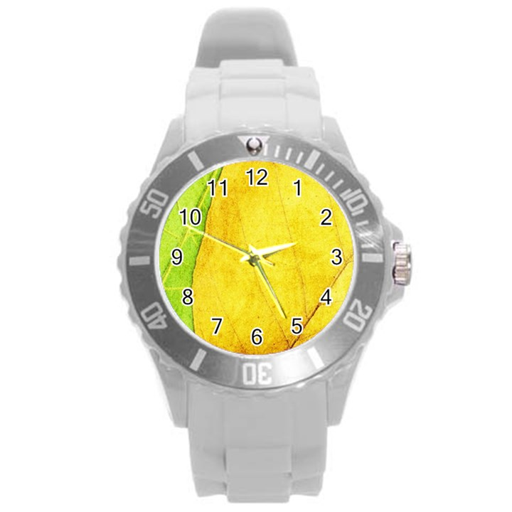 Green Yellow Leaf Texture Leaves Round Plastic Sport Watch (L)