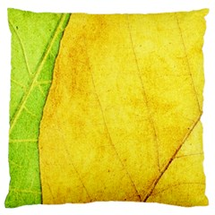 Green Yellow Leaf Texture Leaves Large Cushion Case (two Sides)