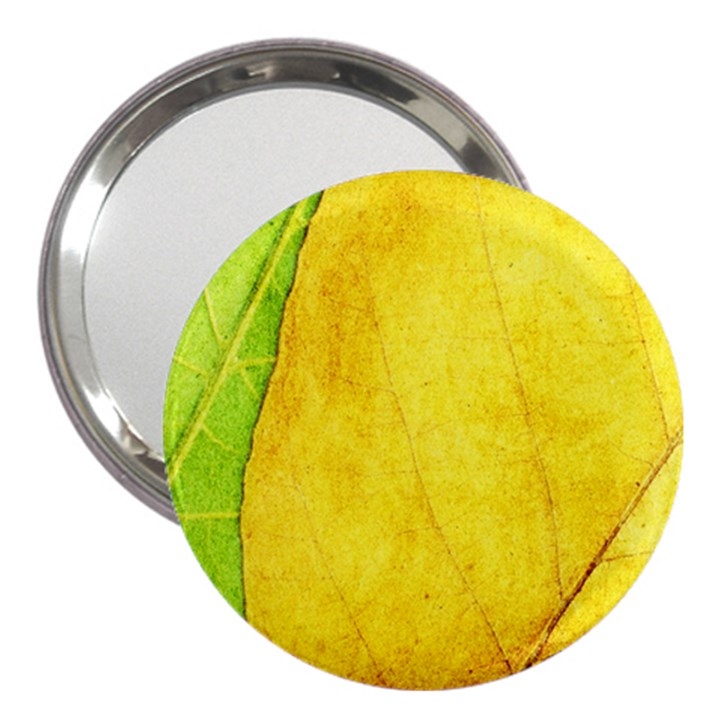 Green Yellow Leaf Texture Leaves 3  Handbag Mirrors