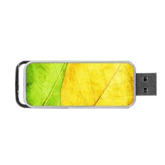 Green Yellow Leaf Texture Leaves Portable Usb Flash (two Sides)