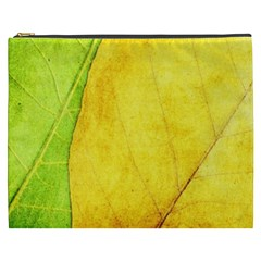 Green Yellow Leaf Texture Leaves Cosmetic Bag (xxxl)