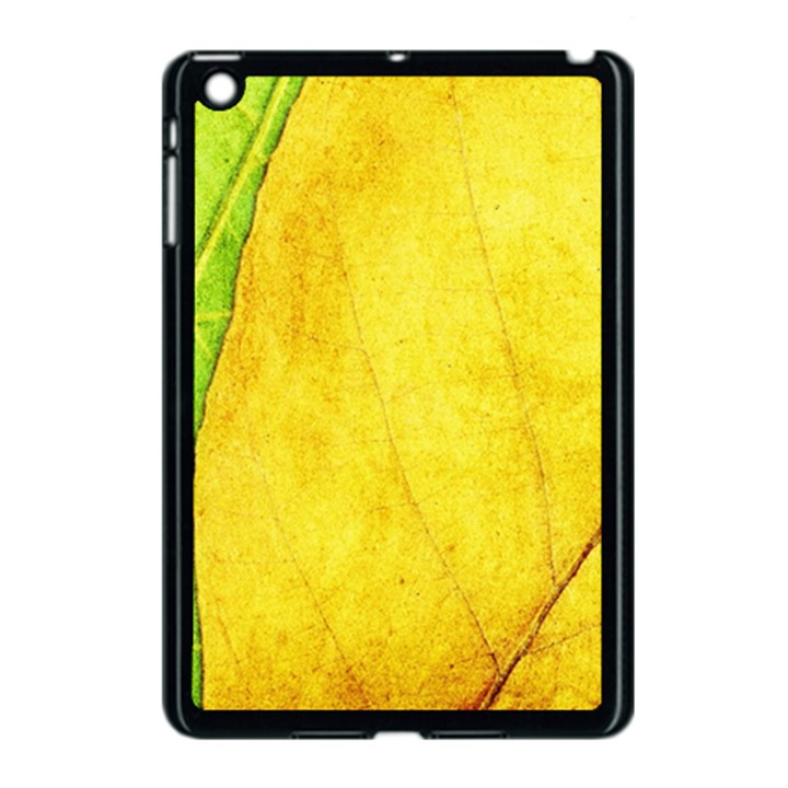 Green Yellow Leaf Texture Leaves Apple iPad Mini Case (Black)