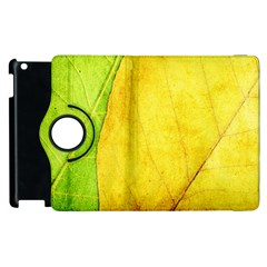 Green Yellow Leaf Texture Leaves Apple Ipad 2 Flip 360 Case