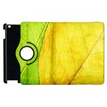 Green Yellow Leaf Texture Leaves Apple iPad 2 Flip 360 Case Front