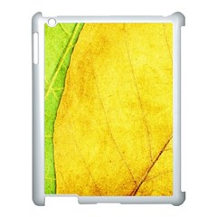 Green Yellow Leaf Texture Leaves Apple Ipad 3/4 Case (white)
