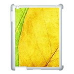Green Yellow Leaf Texture Leaves Apple iPad 3/4 Case (White) Front