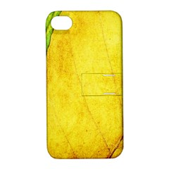 Green Yellow Leaf Texture Leaves Apple Iphone 4/4s Hardshell Case With Stand