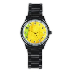 Green Yellow Leaf Texture Leaves Stainless Steel Round Watch