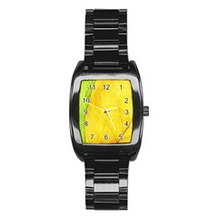 Green Yellow Leaf Texture Leaves Stainless Steel Barrel Watch