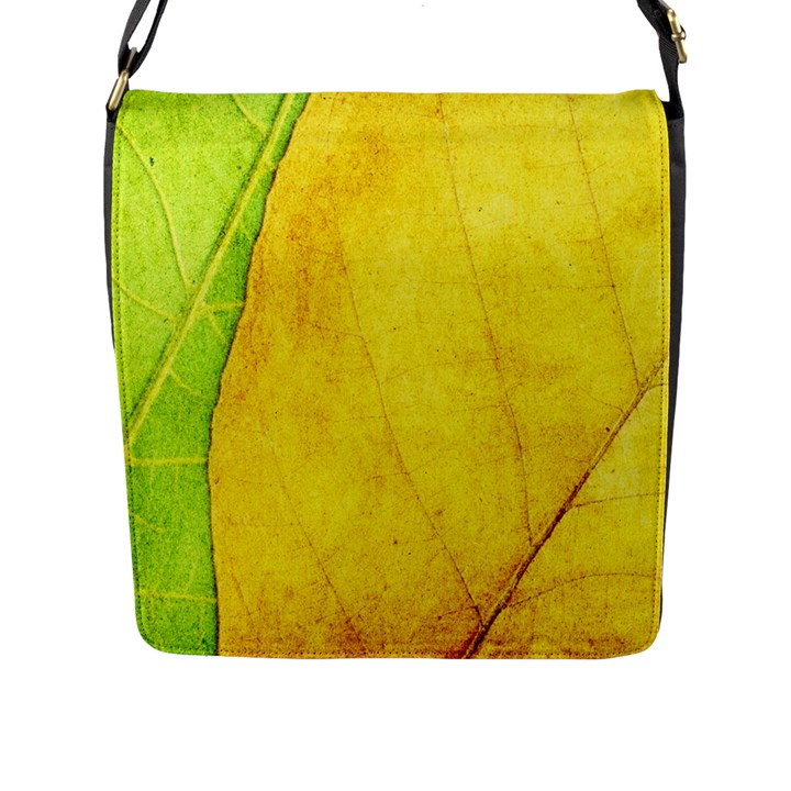 Green Yellow Leaf Texture Leaves Flap Closure Messenger Bag (L)
